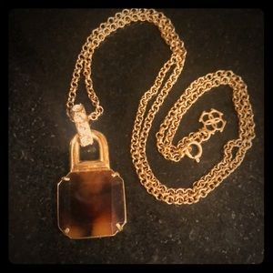 Ann Taylor Long Tortoiseshell Pendant Necklace